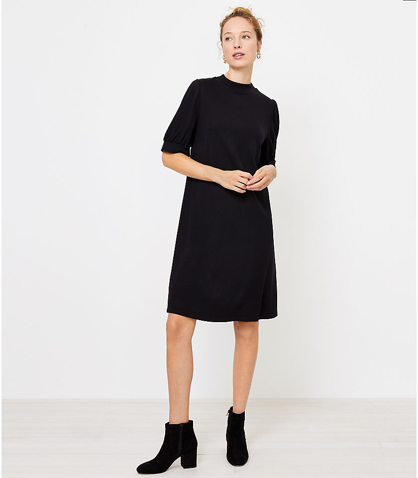 로프트 LOFT Ponte Shift Dress,Black