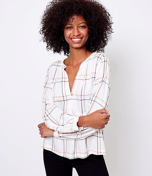 A flattering split neck and romantic blouson sleeves perfect this flowy and perfectly understated blouse. Split neck. Long sleeves with puffed shoulders and banded cuffs. Loft Plaid Split Neck Blouse