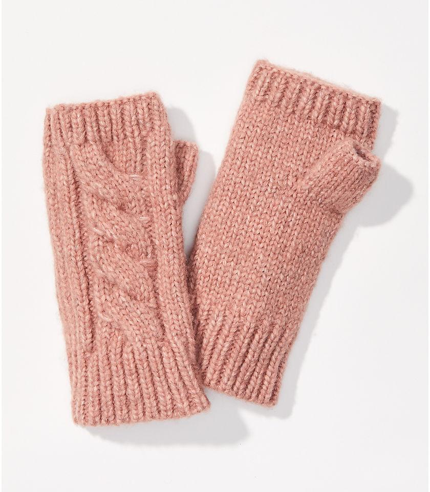 로프트 LOFT Cable Fingerless Gloves,Soft Blush
