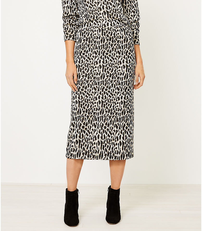 로프트 LOFT Animal Spotted Knit Column Skirt,Black