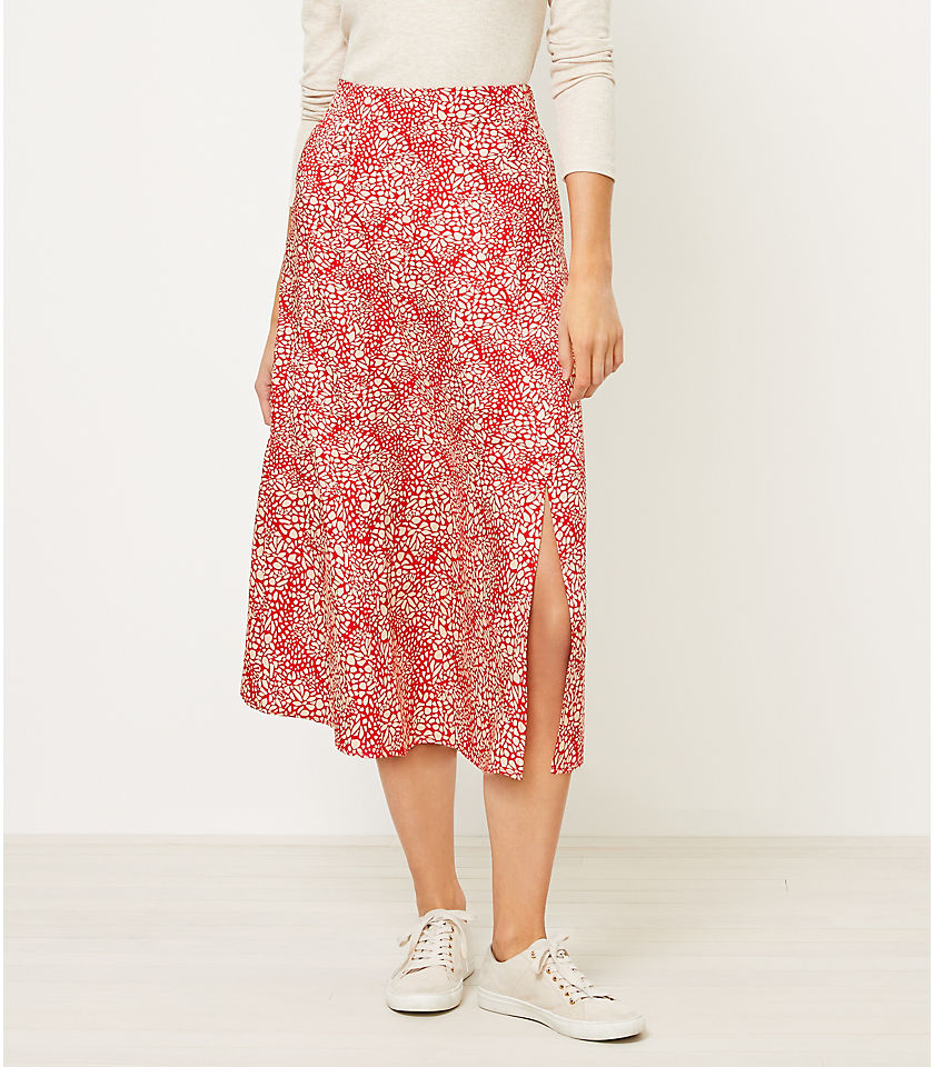 로프트 LOFT Animal Spotted Midi Skirt,Fearless Red