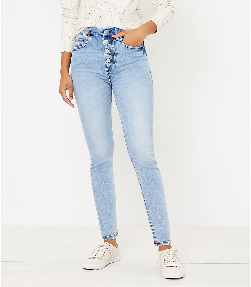 로프트 LOFT High Waist Skinny Jeans in Authentic Light Indigo Wash