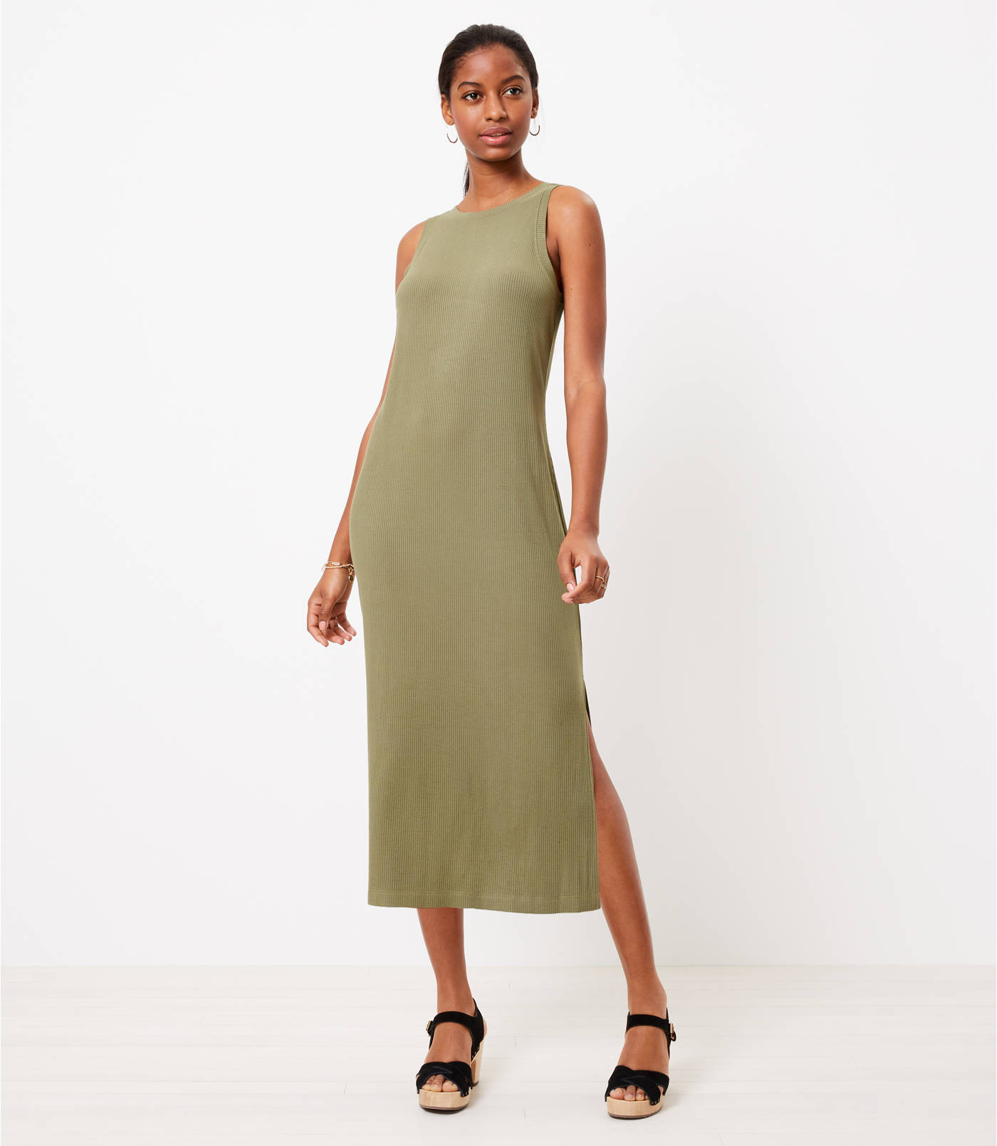 LOFT Beach Ribbed Midi Dress