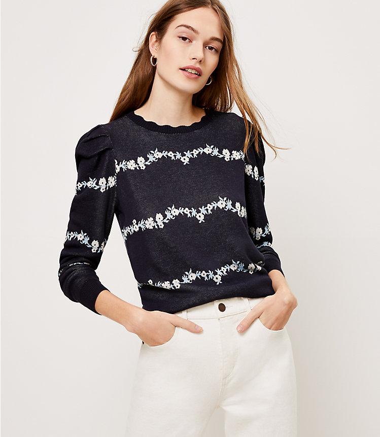 LOFT: Floral Puff Sleeve Sweater $6.35
