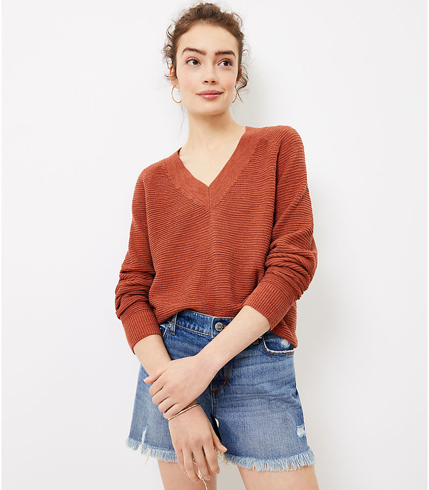 Loft Women's Raglan V-Neck Sweater (Regular, Rust)