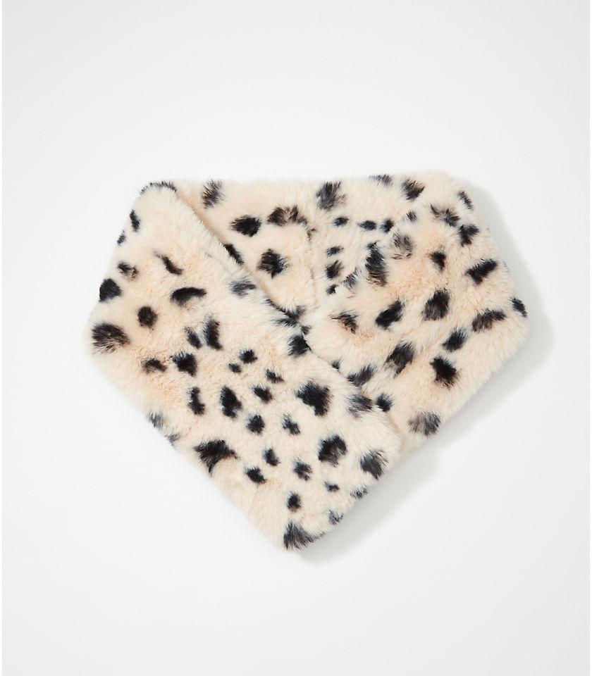 로프트 LOFT Leopard Print Faux Fur Pull Thru Scarf,Popcorn