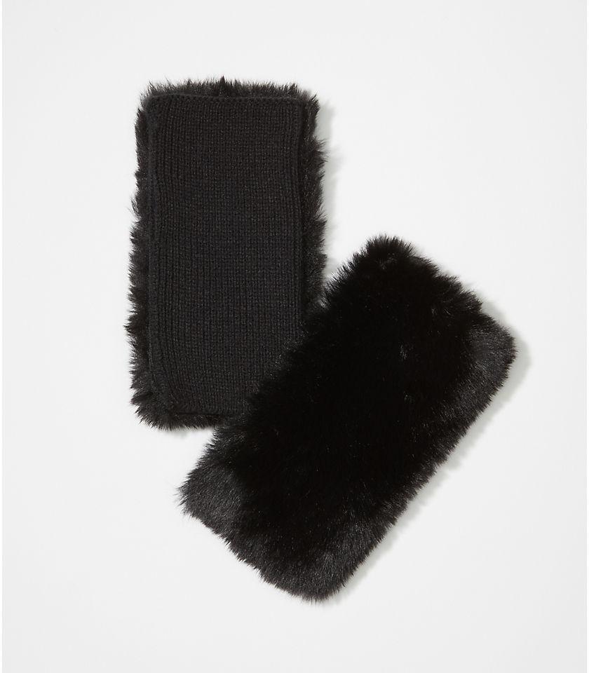 로프트 LOFT Faux Fur Fingerless Gloves