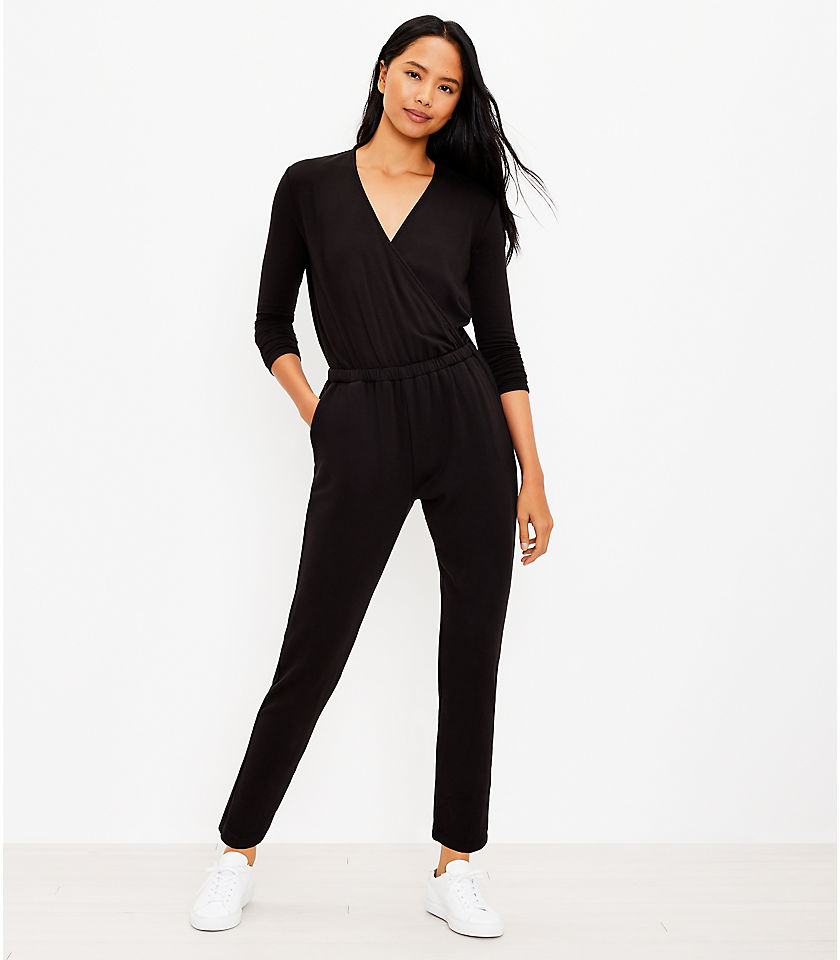 로프트 LOFT Lou & Grey Signature Softblend Crossover Jumpsuit,Black