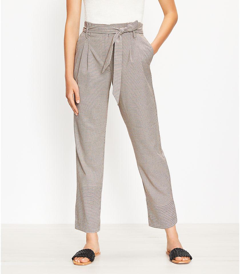 로프트 LOFT Paperbag Pull On Slim Pants in Check,Black Multi