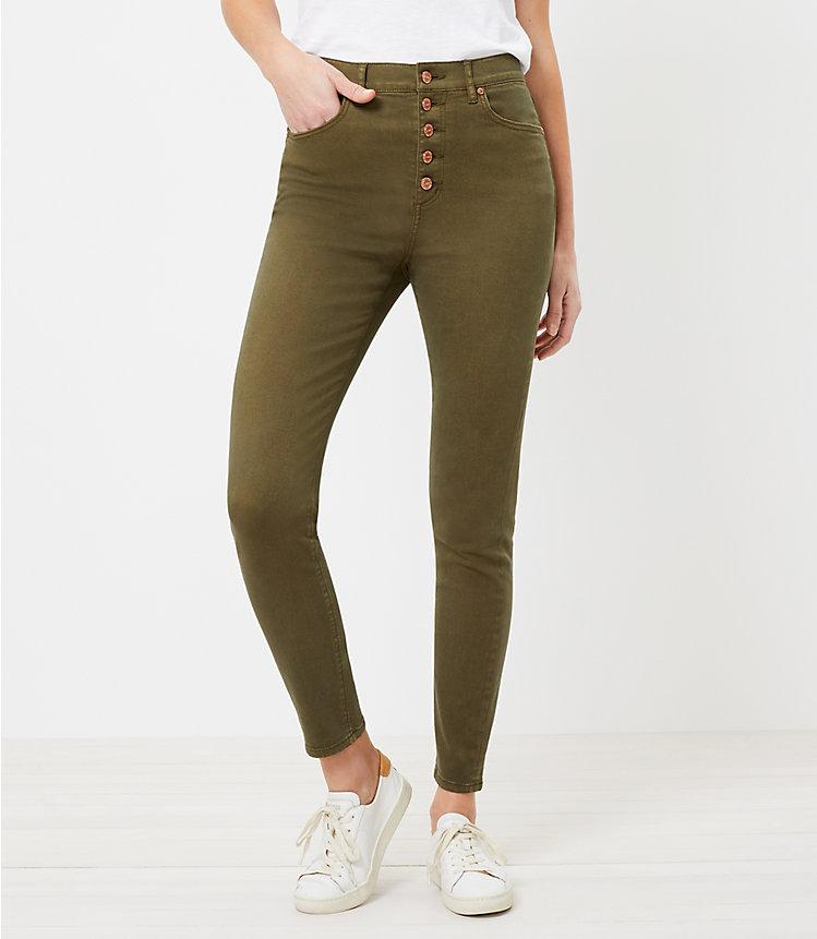 LOFT The High Waist Button Front Women's Skinny Jean