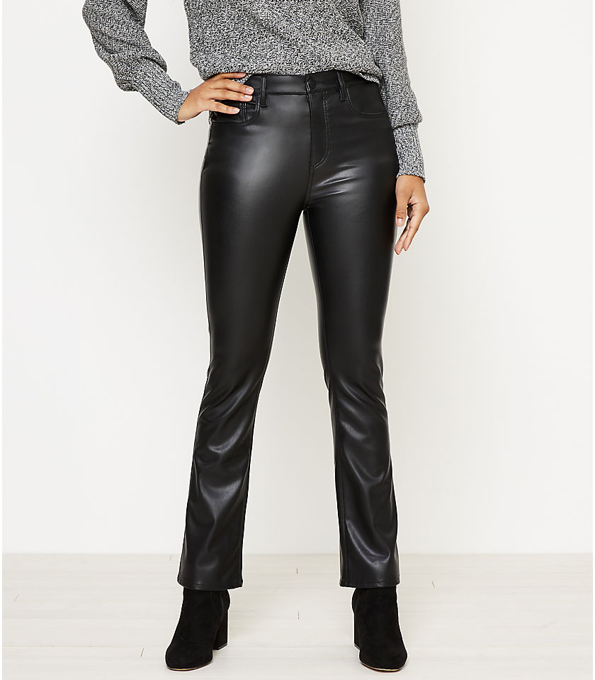 로프트 LOFT Faux Leather Flare Crop Jeans in Black