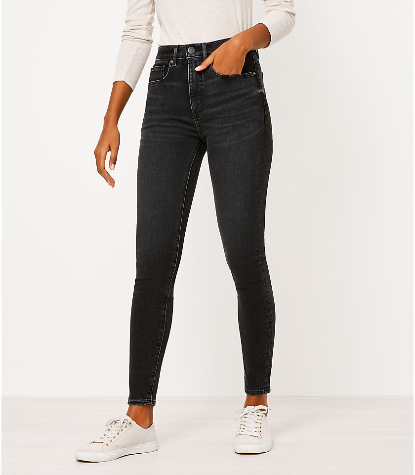 로프트 LOFT High Rise Skinny Jeans in Black