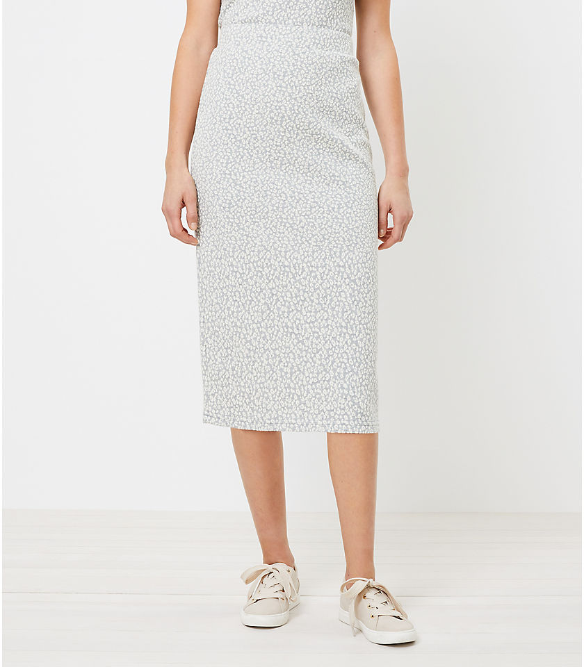 로프트 LOFT Animal Print Pull On Midi Skirt,Grey Ivory Combo