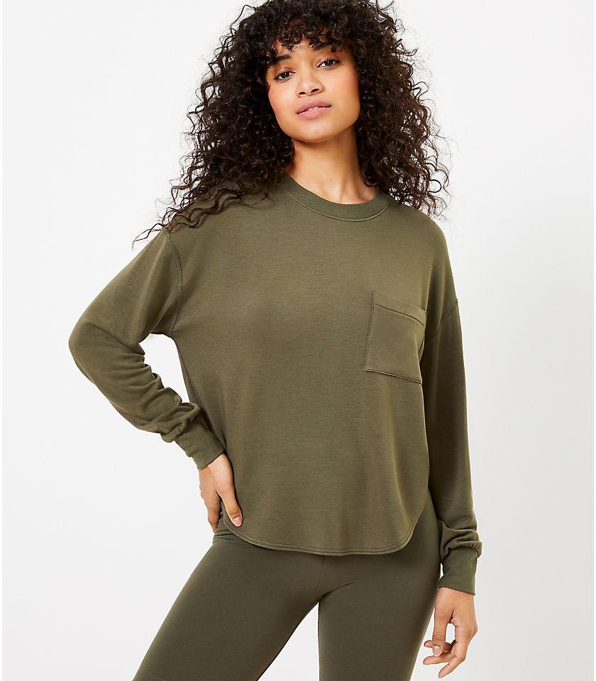 로프트 LOFT Lou & Grey Signature Softblend Shirttail Sweatshirt