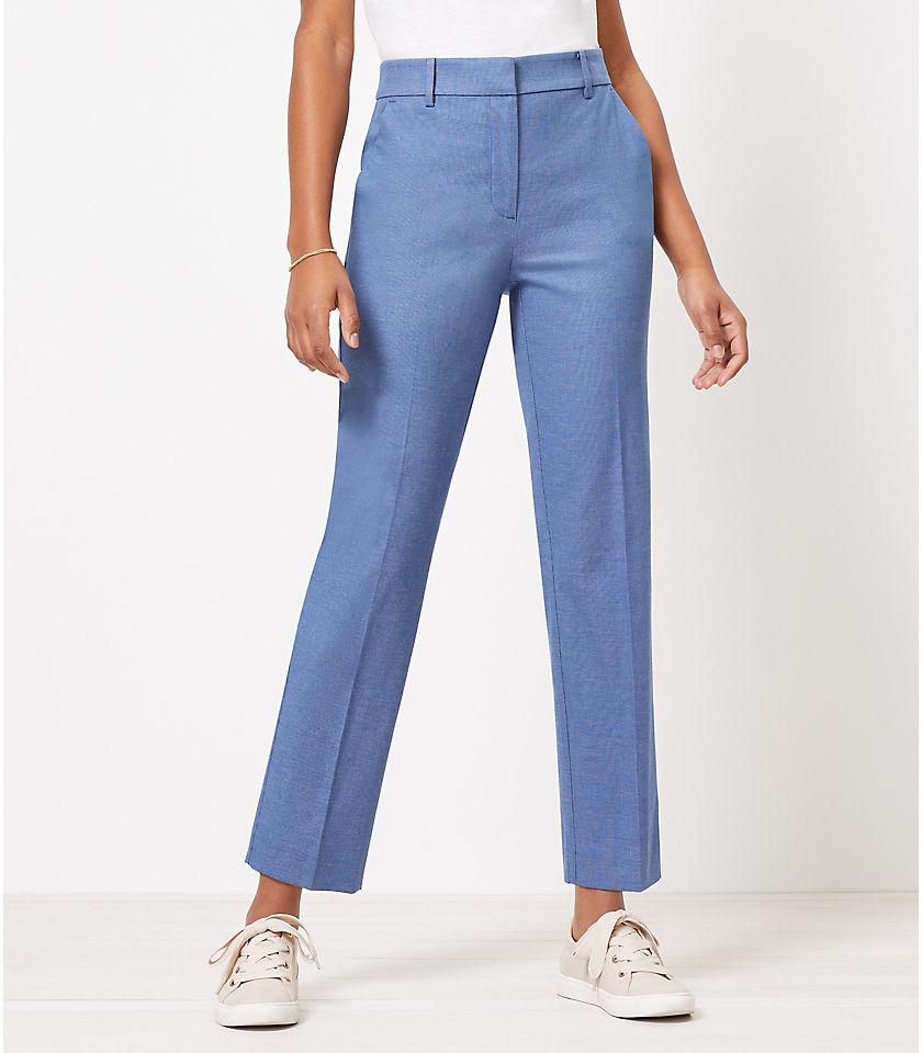 로프트 LOFT Perfect Straight Pants in Stretch Double Weave,Blue Multi