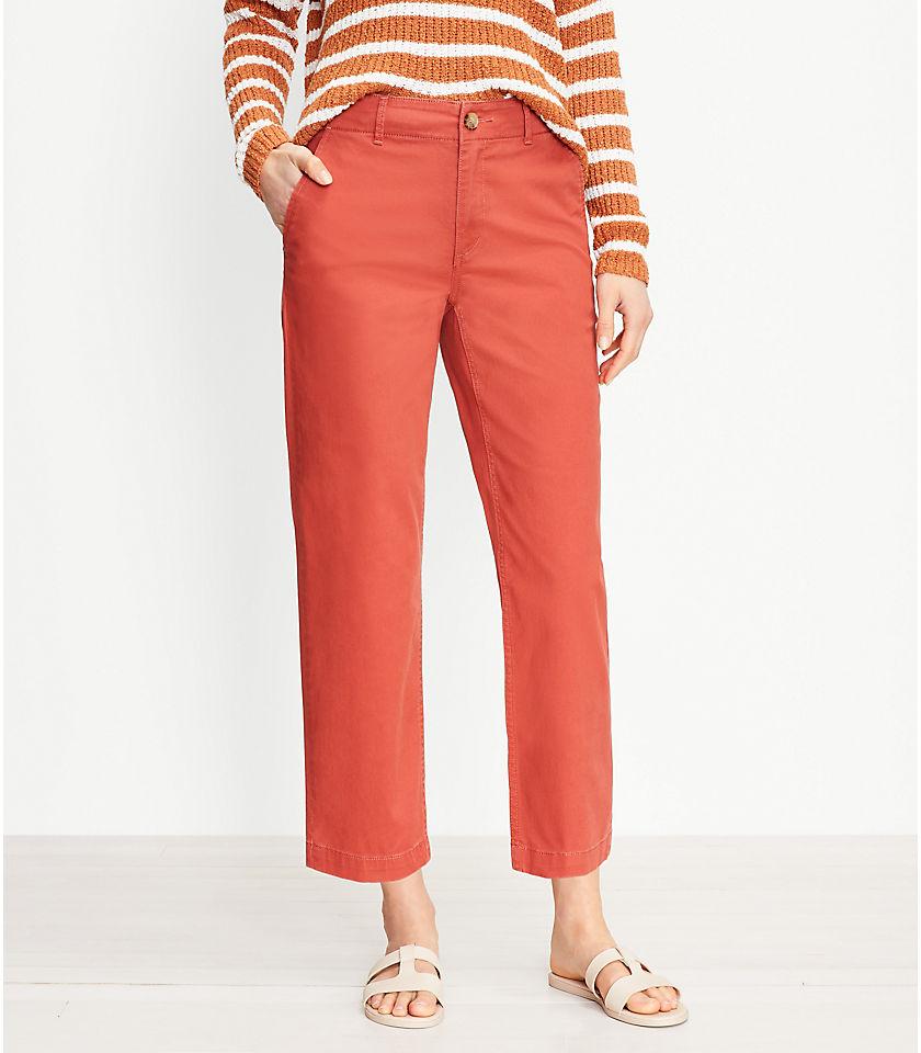 로프트 LOFT Perfect Straight Pants in Washed Twill,White