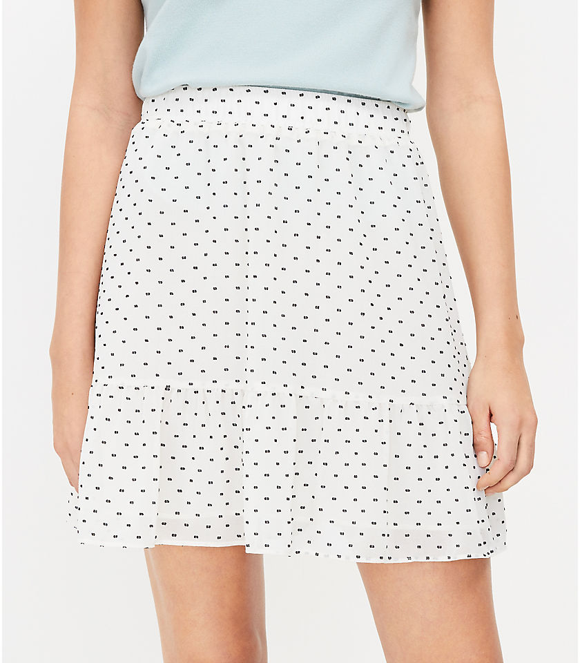 로프트 LOFT Clip Dot Flippy Skirt,Whisper White