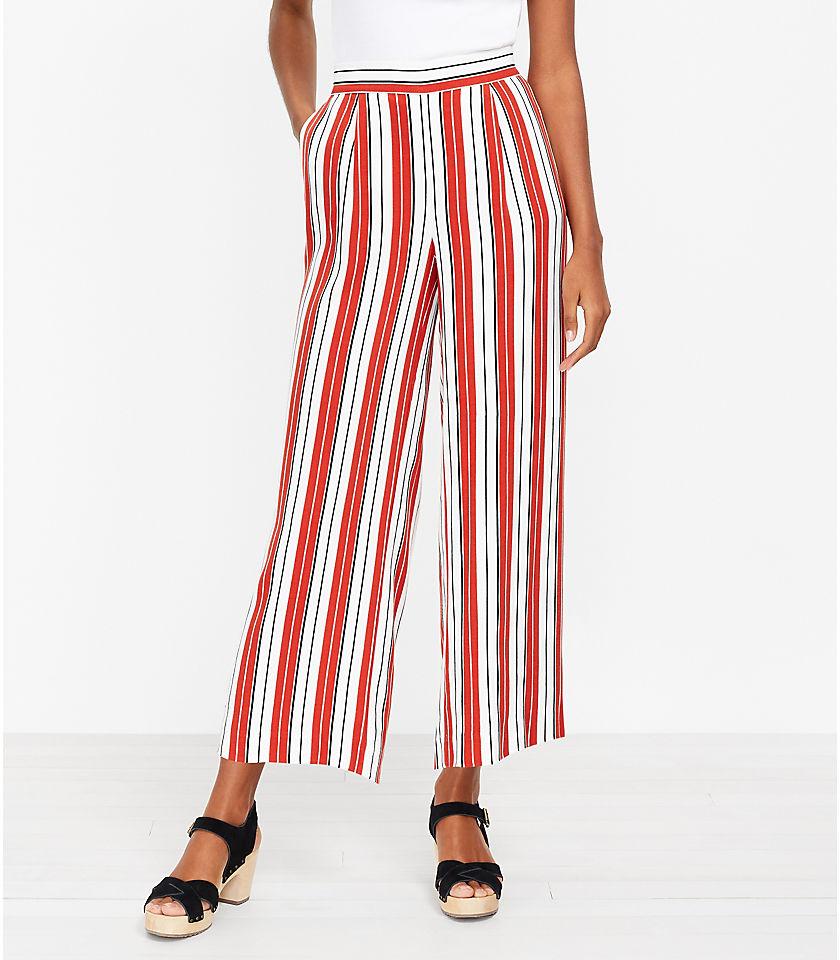 로프트 LOFT Pull On Wide Leg Crop Pants in Stripe,Whisper White