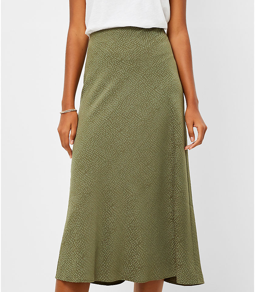 로프트 LOFT Jacquard Pull On Midi Skirt,Fresh Ivy
