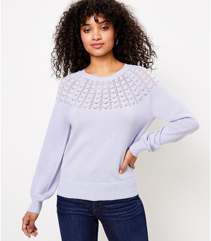 로프트 LOFT Shimmer Pointelle Yoke Sweater,Nordic Blue Heather