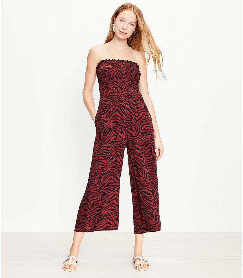 로프트 LOFT Beach Animal Print Smocked Strapless Jumpsuit,Henna Red