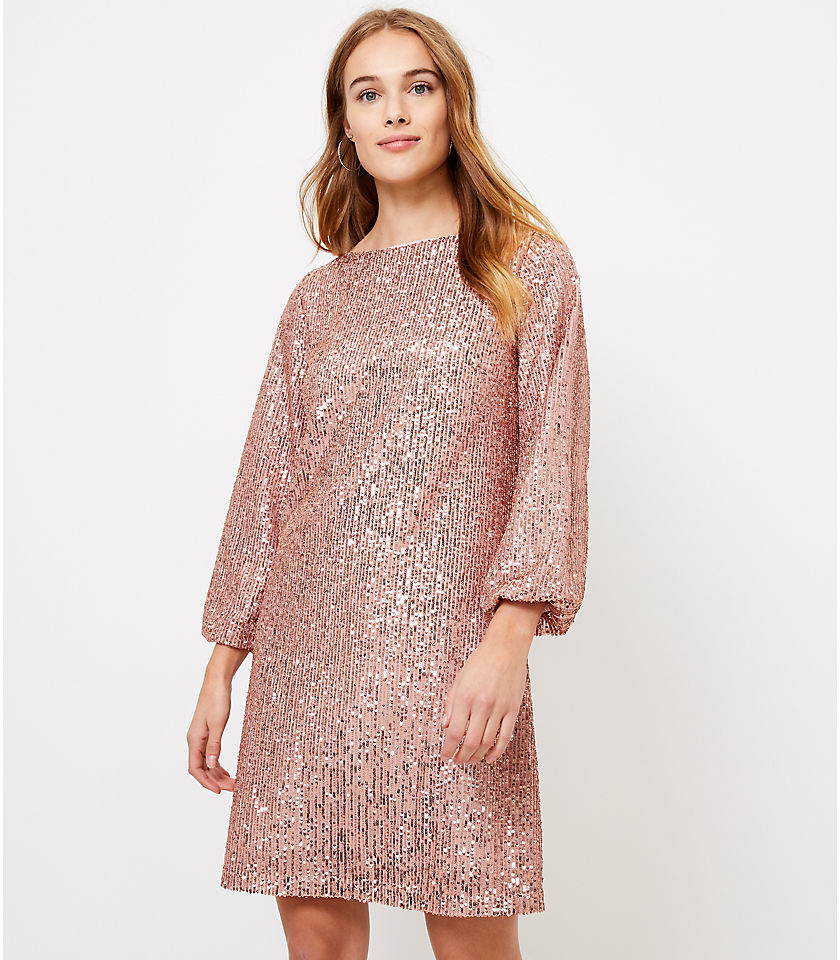 로프트 LOFT Sequin Balloon Sleeve Dress,Metallic Champagne