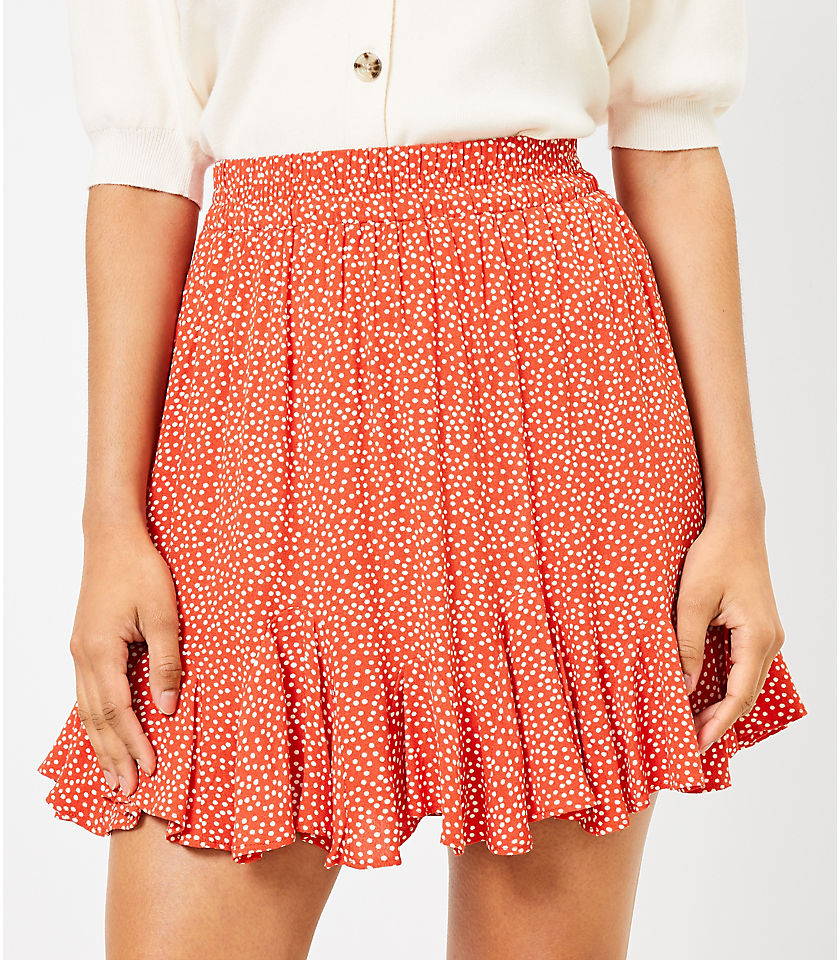 로프트 LOFT Dotted Flounce Pull On Skirt,Blazing Orange