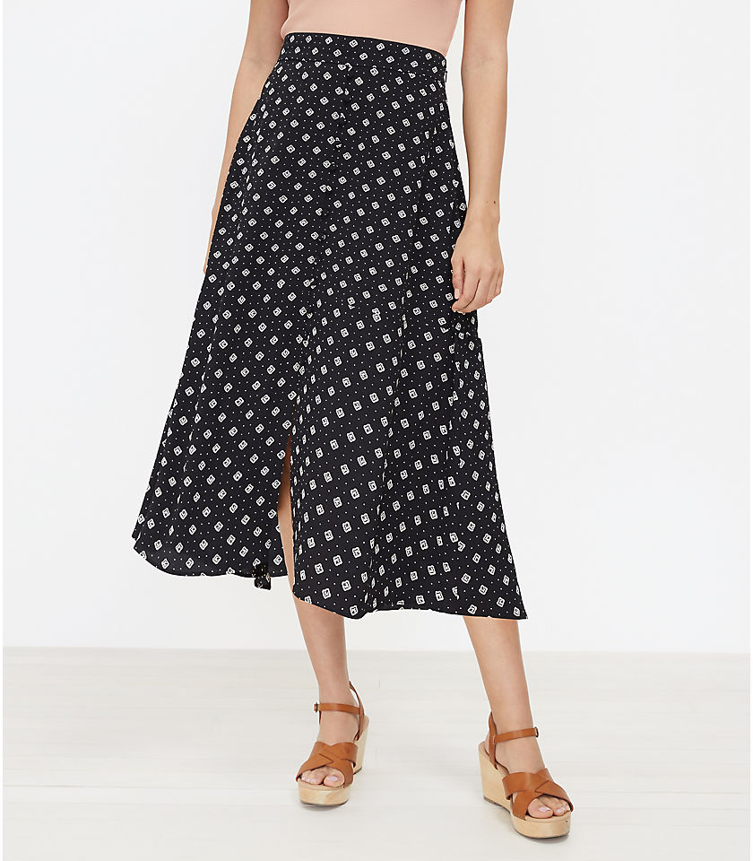 로프트 LOFT Geo Button Midi Skirt,Black