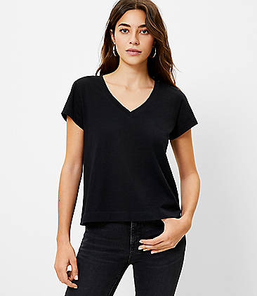 Usstore Womens Gradient Tunic T-Shirt A-Line Short Sleeve Summer Stylish Casual V-Neck Housewife Soft Loose Party Blouse