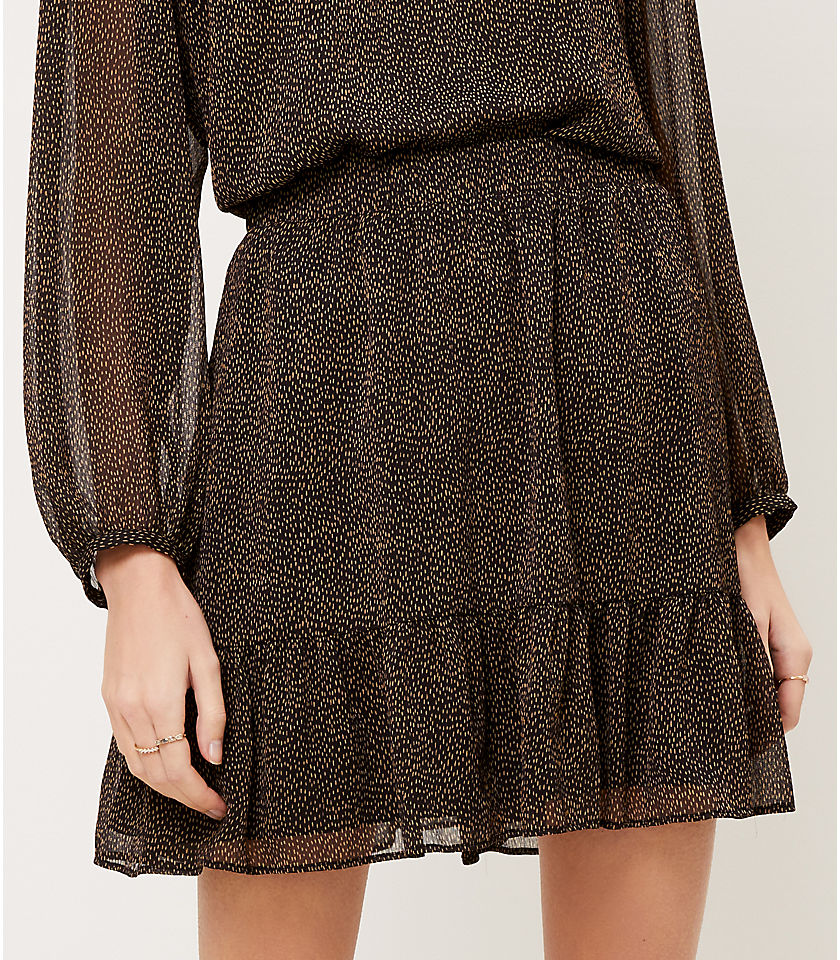 로프트 LOFT Flecked Pull On Ruffle Skirt,Black