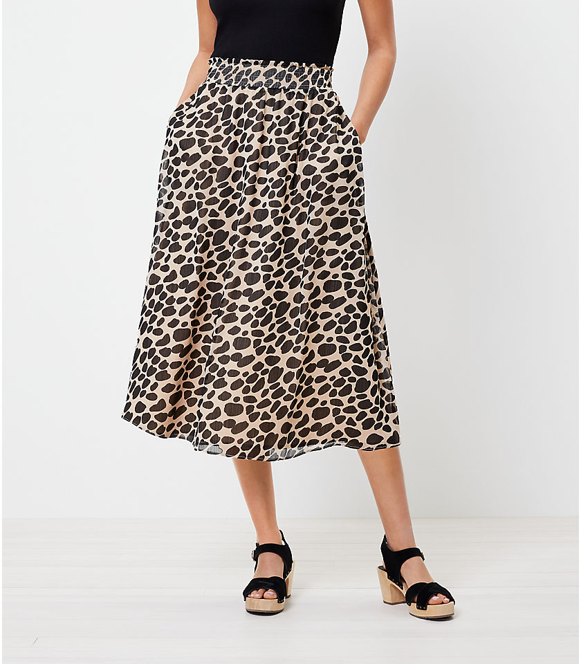 로프트 LOFT Cheetah Print Pocket Midi Skirt,Black