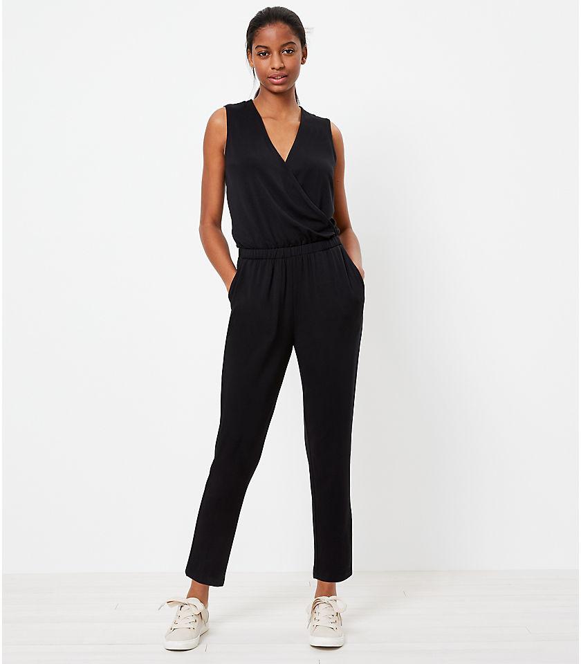 로프트 LOFT Lou & Grey Signature Softblend Crossover Jumpsuit,Black