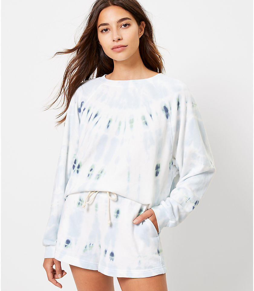 로프트 LOFT Lou & Grey Tie Dye Oversized Terry Sweatshirt,Summer Sky Blue