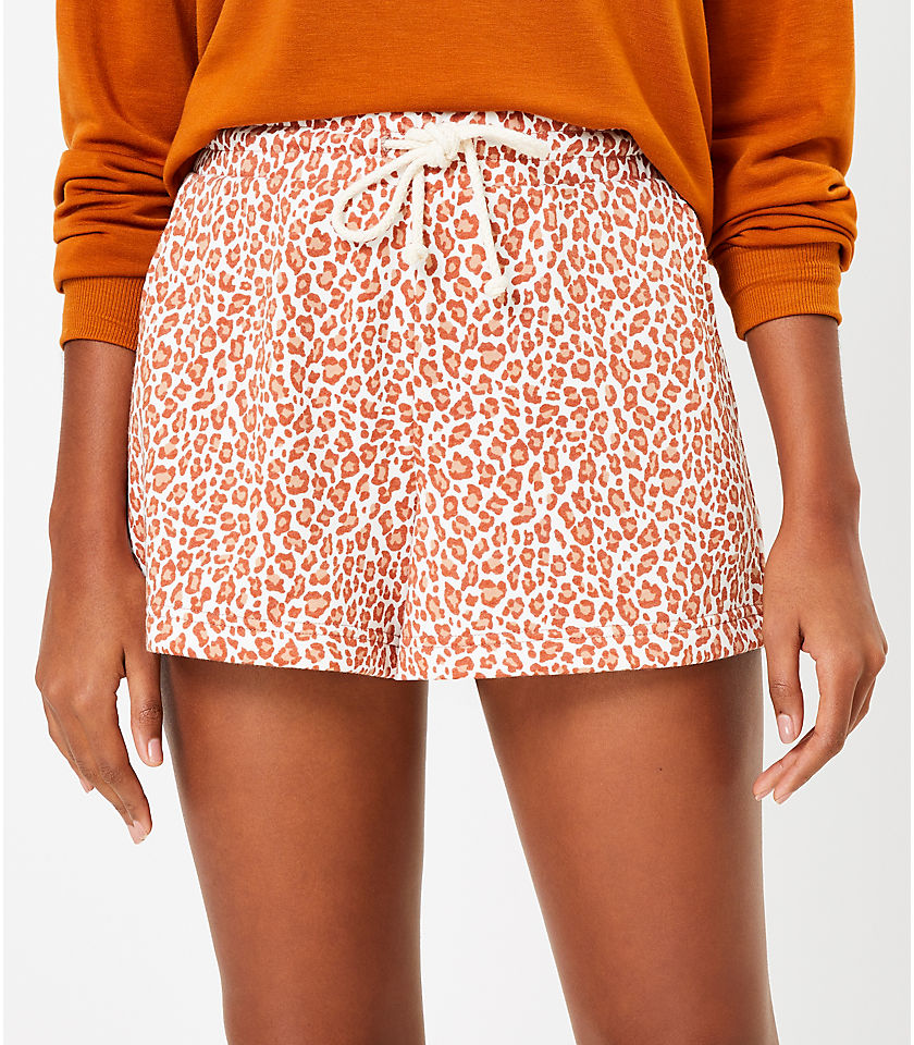 로프트 LOFT Lou & Grey Leopard Print Terry Shorts,Sweet Caramel