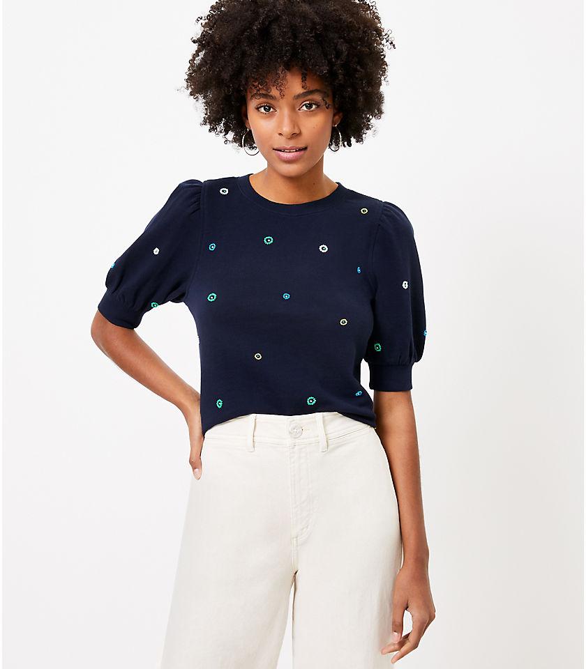 로프트 LOFT Beaded Puff Sleeve Sweatshirt Top,Forever Navy