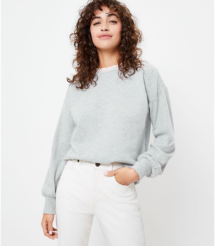 로프트 LOFT Ruffle Collar Sweatshirt,Dusk Grey Melange