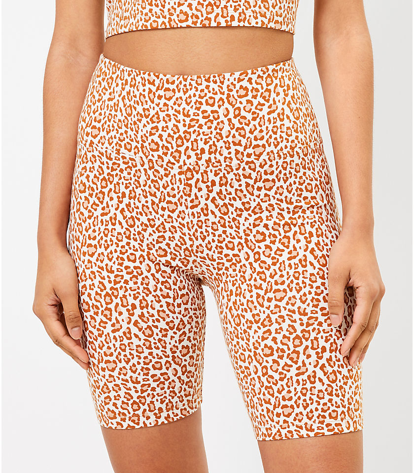 로프트 LOFT Lou & Grey Leopard Print Terry Bike Shorts,Sweet Caramel