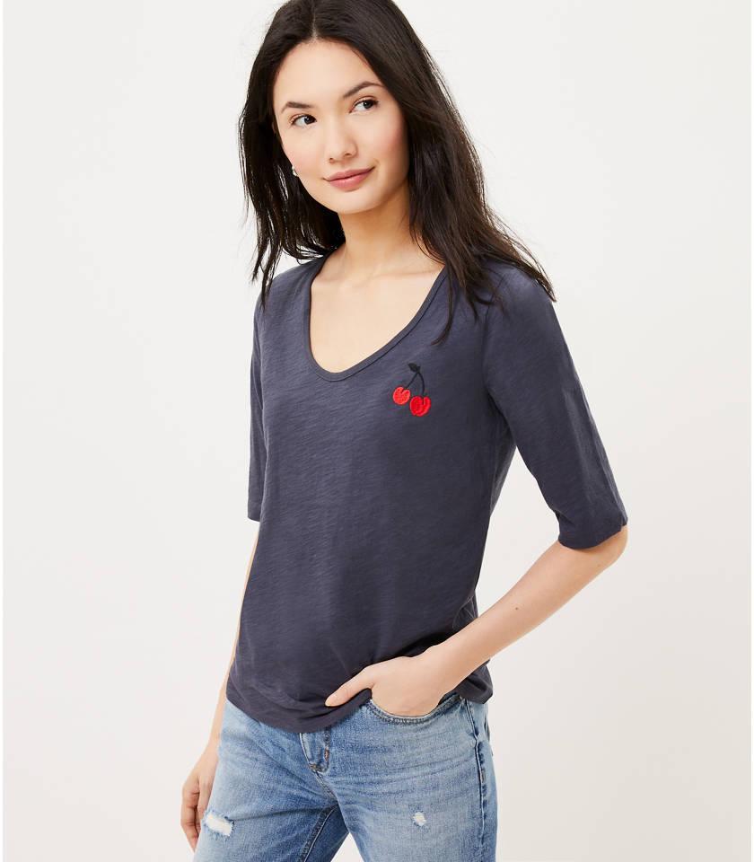 로프트 LOFT Cherry Embroidered Elbow Sleeve Tee,Coastal Grey
