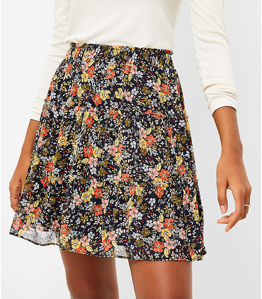 로프트 LOFT Floral Tiered Ruffle Pull On Skirt,Forever Navy