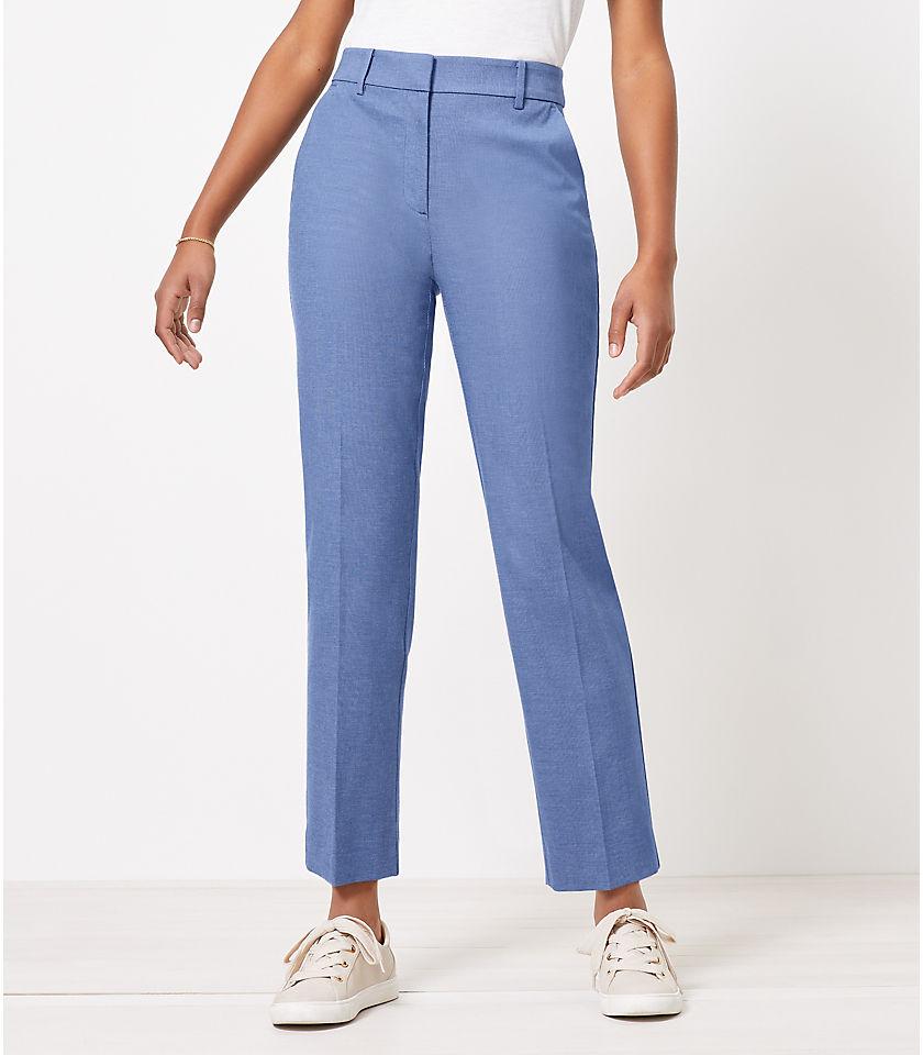 로프트 LOFT Curvy Perfect Straight Pants in Stretch Double Weave,Blue Multi