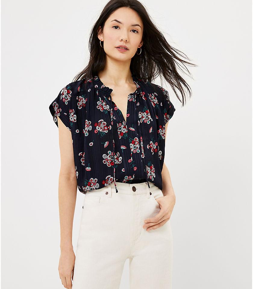 로프트 LOFT Floral Split Neck Top,Forever Navy