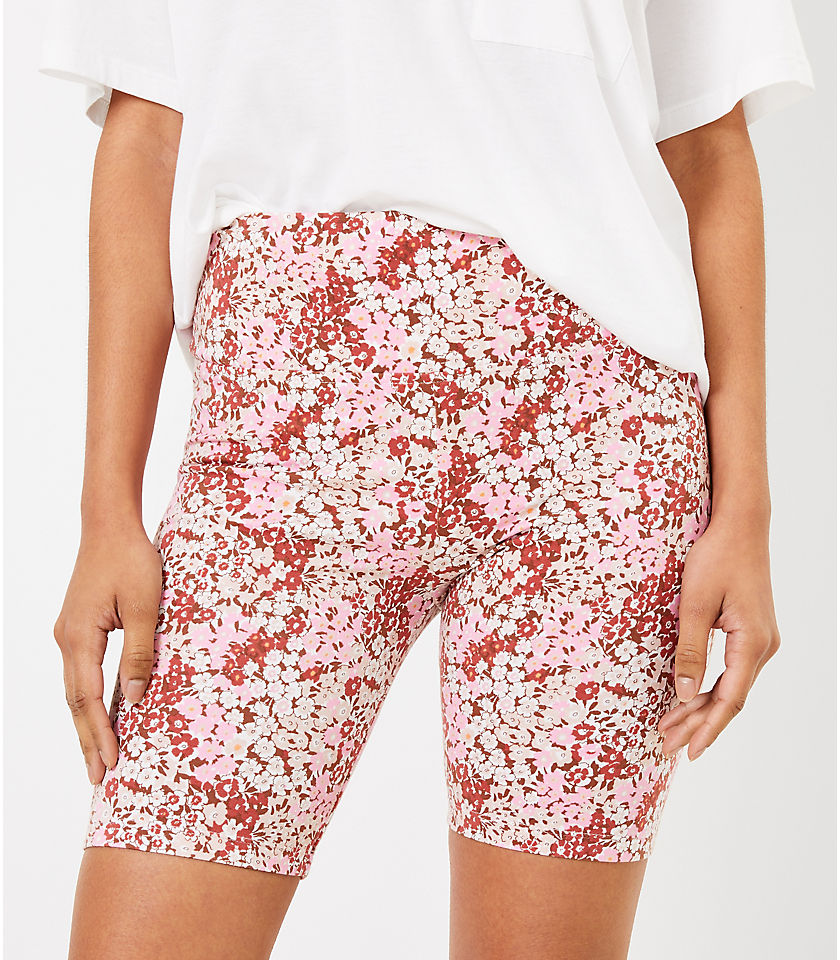 로프트 LOFT Lou & Grey Floral Terry Bike Shorts,Rosy Grapefruit