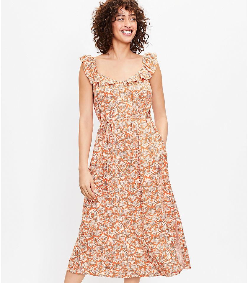 로프트 LOFT Leafed Flutter Strap Pocket Midi Dress,Rich Hazelnut
