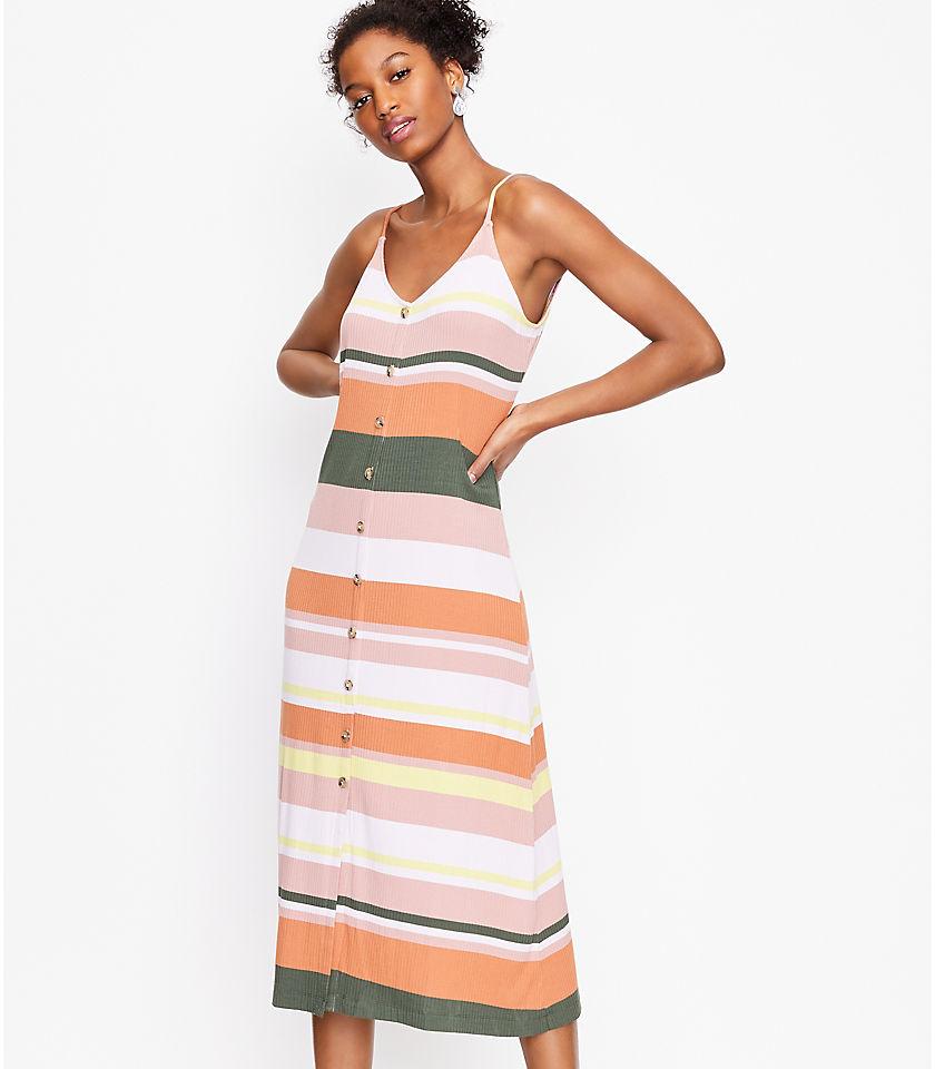로프트 LOFT Striped Button Strappy Midi Dress,Whisper White