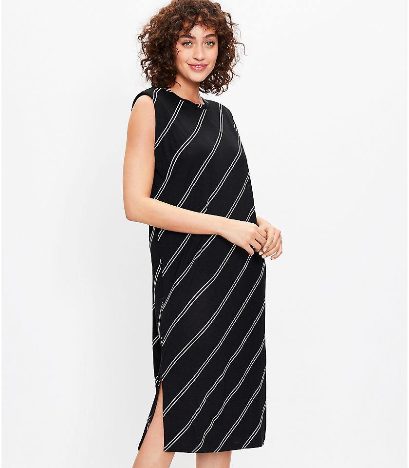 로프트 LOFT Striped Muscle Tee Midi Dress,Black