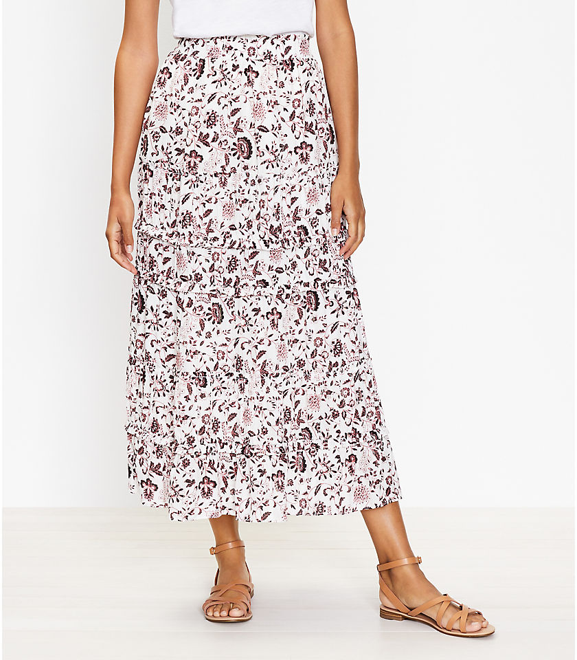 로프트 LOFT Shimmer Vine Tiered Maxi Skirt,Whisper White