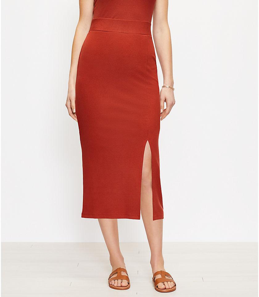로프트 LOFT Ribbed Slit Column Pull On Skirt,Radiant Copper