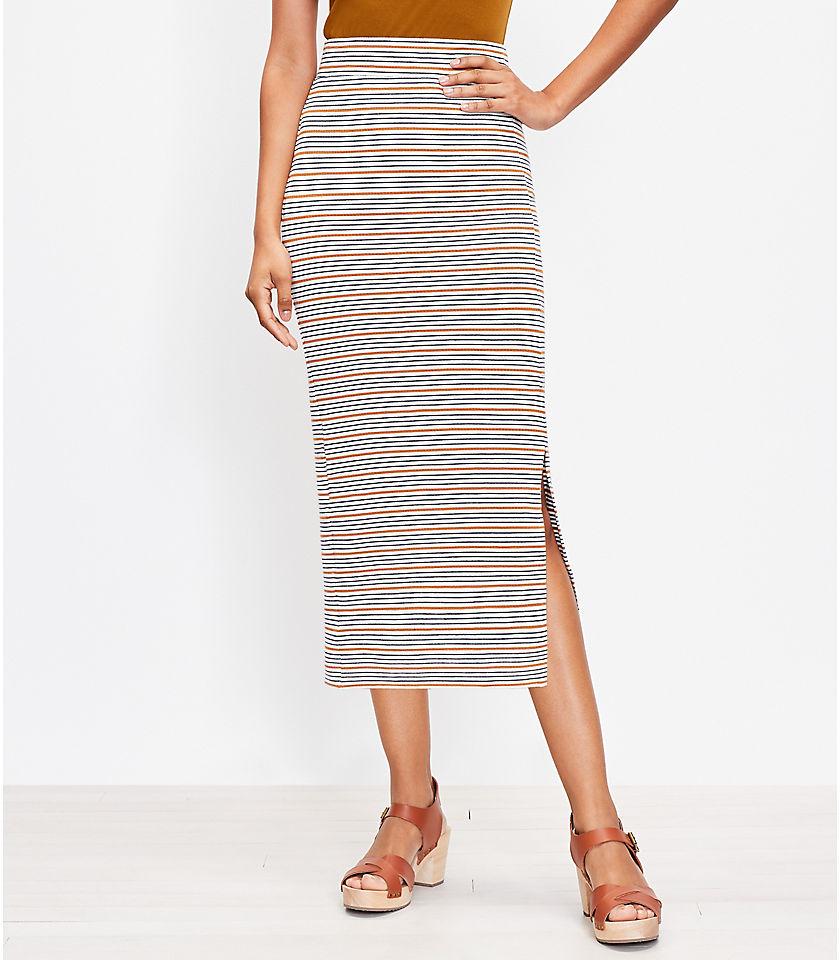 로프트 LOFT Striped Slit Column Pull On Skirt,Whisper White