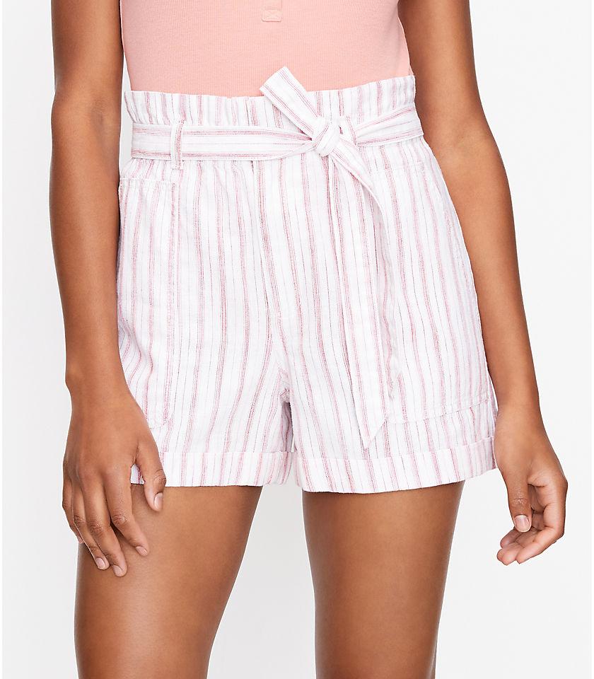로프트 LOFT Paperbag Pull On Shorts in Striped Linen Blend,Pink Multi