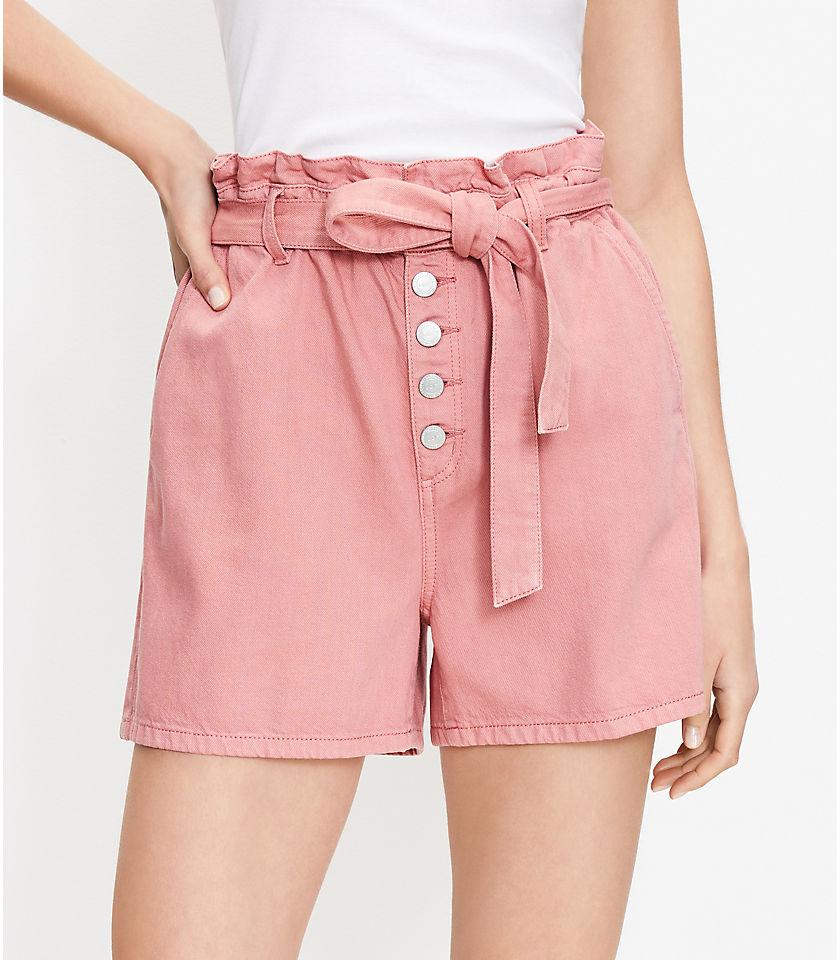 로프트 LOFT Paperbag Pull On Denim Shorts,Sausalito Sunset